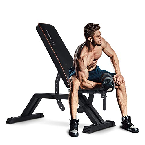 FEIERDUN Weight Bench - 1000LBS Utility Adjustable Weight Bench Heavy Duty Workout Bench & Incline/Decline to Flat Position