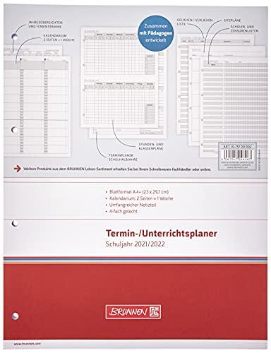 BRUNNEN 1075700002 Wochen-Ersatzkalendarium für Lehrerkalender/Termin- & Unterrichtsplaner 2021/2022, 2 Seiten = 1 Woche, Überformat A4: 23 x 29,7 cm