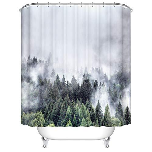 X-Labor Duschvorhang Wasserabweisend Anti-Schimmel inkl. 12 Duschvorhangringe Badewannevorhang für Badezimmer Shower Curtain Wald 180x200cm