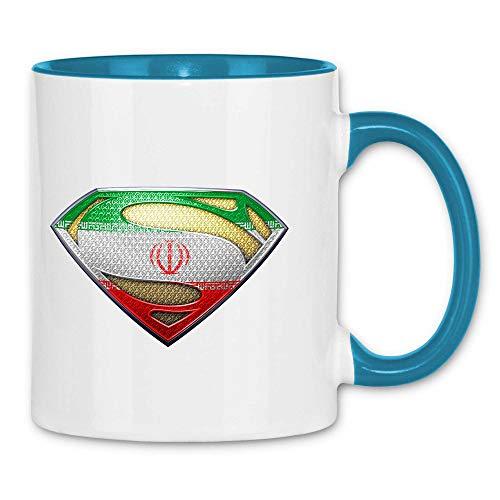 wowshirt Tasse Iran Flagge Emblem Persisch Fahne, Farbe:White - Light Blue