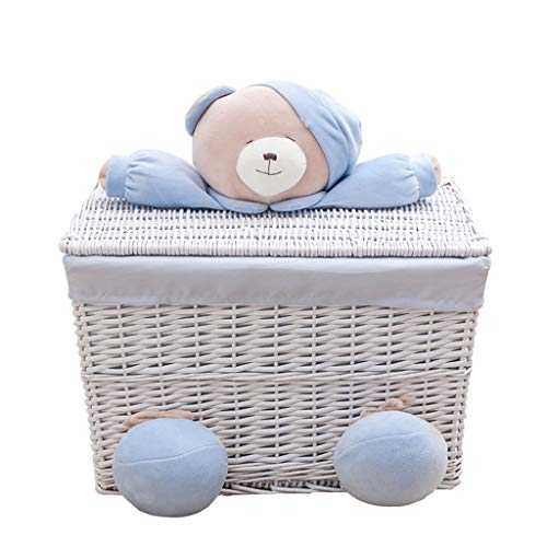 YS&VV Little Bear Laundry Basket Handmade Wicker With A Lid Square Large Capacity Blue Sundry Books Storage Basket XL