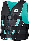 MESLE Auftriebs-Weste V210 W, Damen, XS-XL, schwarz-Aqua, 50-N Schwimmhilfe mit Prallschutz, für Frauen und Mädchen, Wasserski Wakeboard Impact-Weste, Nylon,...