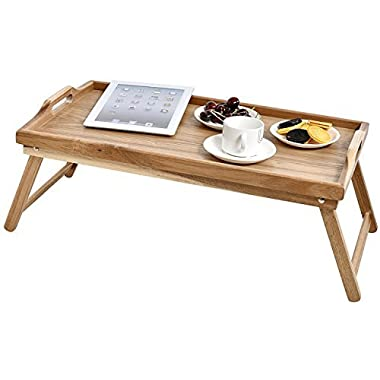 WELLAND Acacia Wood Breakfast Bed Tray Serving Tray with Handle, Foldable Legs