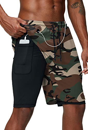 Pinkbomb Men's 2 in 1 Running Shorts Gym Workout Quick Dry Mens Shorts with Phone Pocket (Green Camo, XX-Large)