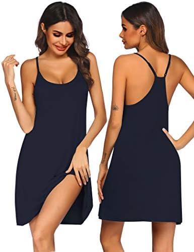 Ekouaer Women Nightgowns Spaghetti Strap Solid Nighties Sleeveless Sleepwear Dress Dark Blue product image
