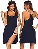 Ekouaer Women Nightgowns Spaghetti Strap Solid Nighties Sleeveless Sleepwear Dress,Dark Blue,Small