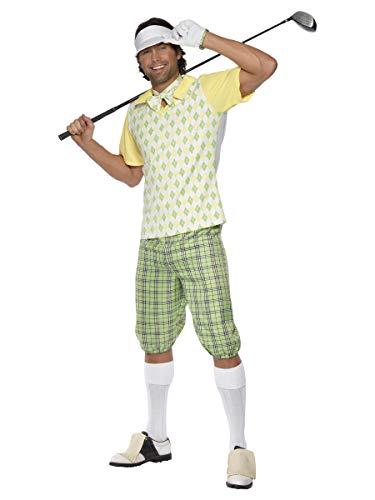 Smiffys Golfer Kostüm, Grün, Gelb und Weiß, mit Schirmmütze, Shorts, Oberteil, Fliege und Handschuhen, XL