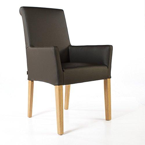 Armlehnstuhl Galdo Leder Dark Braun Beine Eiche | Ledersessel Lederstuhl Sessel