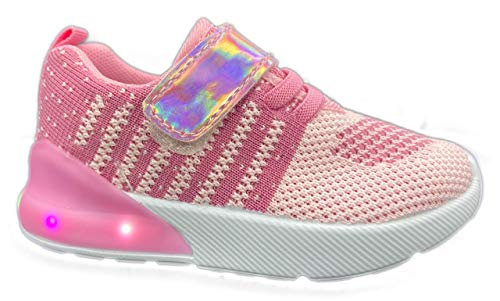 Chulis Toddler Girl Light Up Shoes (4, Pink)