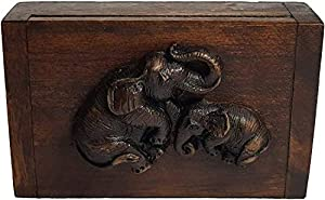 Design by UnseenThailand Vintage Thai Teak Wood Box with Elephants 100% Handmade (Wooden Elephant)