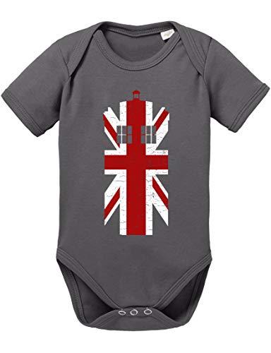 Dr UK Doctor Baby Strampler Who Bio Baumwolle Body Jungen & Mädchen 0-12 Monate Tv Serie, Größe:62/2-3 Monate, Farbe:Dunkel Grau
