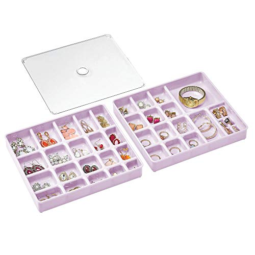 mDesign Stackable Plastic Storage Jewelry Box - 2 Organizer Trays with Lid for Drawer, Dresser, Vanity - Holds Necklaces, Bracelets, Bangles, Rings, Earrings - 3 Pieces - Light Purple/Clear