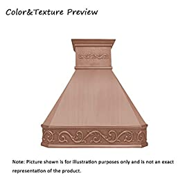 """SINDA Natural Beautiful Copper Kitchen Hood, Handcrafted by Skilled Artisan, Comes with High Air Flow Motor Fan, 48""""Wx42""""H Island Mount, Smooth-Natural Copper, H14BA-SNI4842 6 SIZE: Island Mount 48""""Wx42""""H.The width of an island mount copper range hood should be 3-6 inches wider than the cooktop. And the height range between your cooktop and the copper range hood should be from 30 to 36 inches. We suggest a height of 36 inches for an island mount. Custom sizes available upon request by email. Material: 16 gauge pure virgin copper. PATINA&TEXTURE: Smooth; Natural Copper. Want to touch a real finish? You may click on this link: https://www.amazon.com/dp/B07Q3FS4NQ. BASIC EQUIPMENT: Stainless Steel 304 Vent with Liner and Internal Motor, Reusable Baffle Filter, Grease Channel, Yellow LED lights(3W 12V) and 4-Speed Control; Powerful Airflow Fan: (30""""/36""""W: single motor, 610 CFM, 6"""" round duct; 42""""/48""""W: dual motors, 960CFM, 8"""" round duct); Ductless and remote blowers with In-line liner options available upon request by email;"""