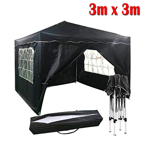 Yiyai Wasserdicht 3x3m Faltpavillon, UV-Block Gartenpavillon mit Seitenwände, Robust Pulverbeschichteter Stahlrahmen und eine Tragetasche für Camping Outdoor Party Blau