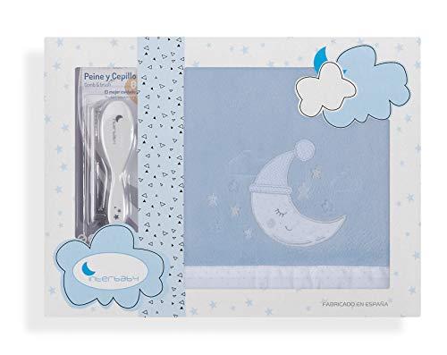 Sabanas de Invierno CORALINA Extrasuave CUNA 60X120 - (bajera+encimera+funda almohada) - Color: Blanco/Azul - OFERTA