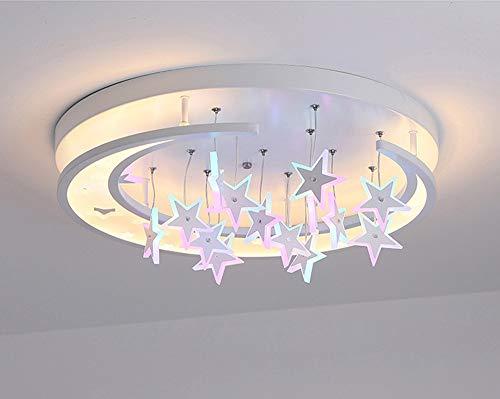 Lámpara de techo colgante para habitación de los niños diseño de estrellas luna decoración blanca luz infantil regulable con mando a distancia dormitorio lámpara colgante LED de diseño moderno (60 cm)