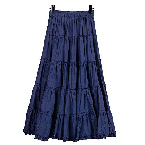 Saukiee Women's Bohemian Elastic Waist Long Skirt Cotton Circle Ruffle Broomstick Peasant Maxi Tiered Skirts Blue