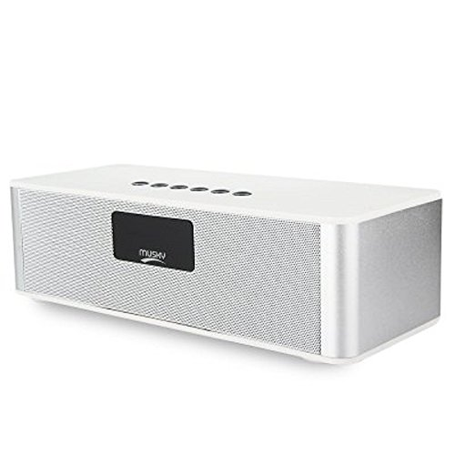 MUSKY DY21L HiFi Wireless V4.0 Bluetooth Stereo Speaker with LED Display Multimedia Time Alarm FM Mode (White)