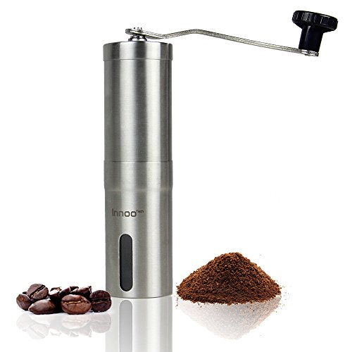 Coffee Grinder Manually - Handheld Portable Conical Burr Mill, Brushed Stainless Steel 1.9 x 1.9 x 7.5 inches