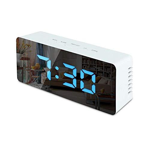 NancyMissY LEDミラー目覚まし時計デジタルスヌーズ時計時計ウェイクアップライト電子大型時間ディスプレイ家の装飾時計