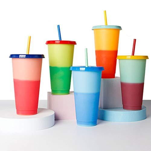 24/16 OZ Color Cambiando La Taza Reutilizable, Cambiando El Color Botella De Agua De Bebida Fría, Sursip 5 Pack con Tapa/Pajitas, Tumblers De Café De Verano Copa De Fiesta para Adultos(Size:24 oz)