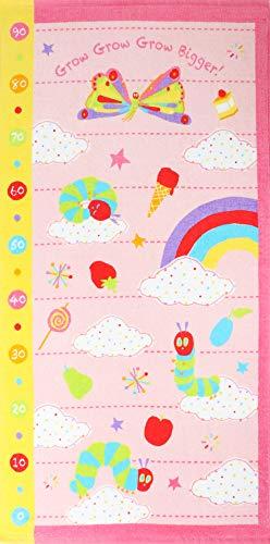 はらぺこあおむし 出産祝い 身長計付き バスタオル 名入れ刺繍 ピンク 女の子 ギフト用 ERIC CARLE エリッ...