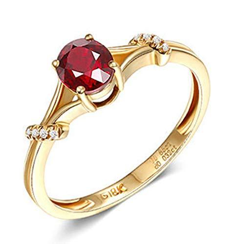 AnazoZ 18K Oro Rosa Anillos para Mujer Oro Rosa Anillos de Mujer Oval Rubí Rojo Blanco 0.85ct Talla 12