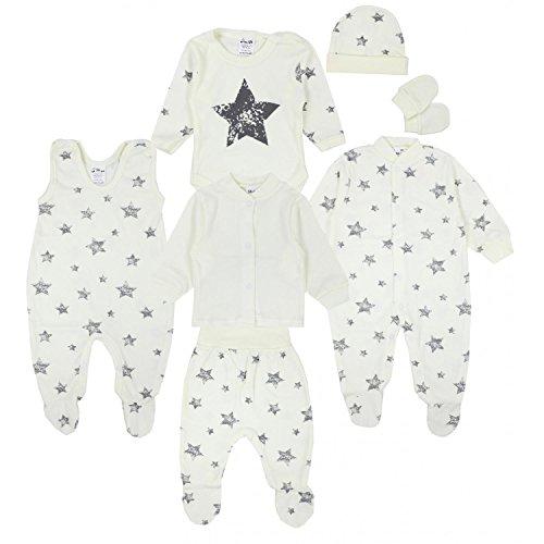 TupTam Conjunto de Ropa Bebé Recien Nacido, 7 Piezas, Gris Estrellas Ecru, 56