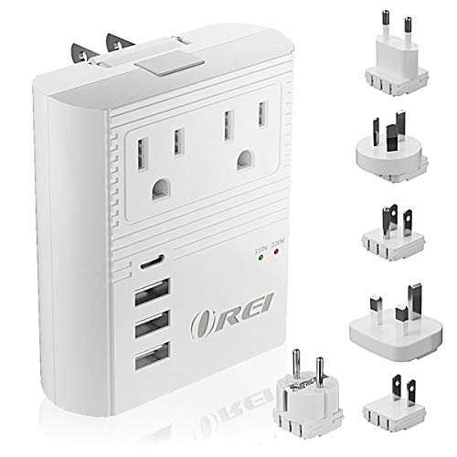 World Travel Plug Adapter M8 Max by Orei - 3 USB + Pd 18W USB-C Input - 2 USA Outlets - Attachments...