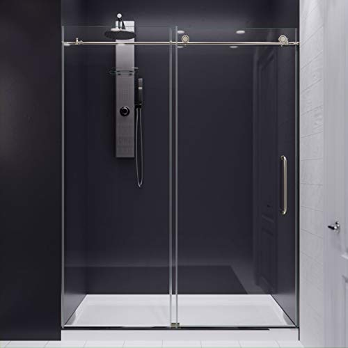 76 x 60 inch Frameless Shower Door in Brushed Nickel   Madam Water Repellent Glass Shower Door with Seal Strip   Easy Gilde Sliding Shower Door Parts Rollers   SD-AZ13-02BN