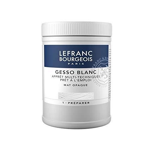 Lefranc & Bourgeois - gesso, aditivo para acrílico, preparador de superficie mate opaco, 500 ml, blanco
