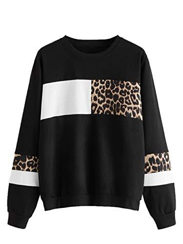 DIDK Damen Sweatshirt Pullover mit Leopardenmuster Langarmshirt Oberteil Farbblock Rundhals Pulli Schwarz M