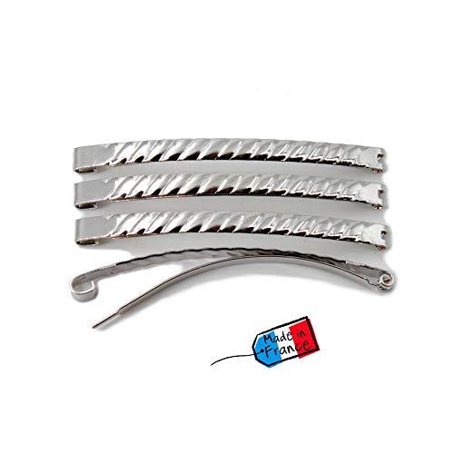 Lot de 4 barrettes cheveux Fildor métal torsadé argenté Made in France 5.8cm