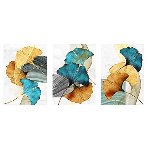 UIGJIOG Cuadro de Lienzo de Flor de Planta de Hoja, Imágenes Artísticas de Pared Dormitorios Nórdicas Abstractas Decoración Póster e Impresiones Sin Marco 3 Piezas,A2 42X60cmX3 No Frame