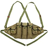 Chinese Military Canvas Type 56 Chest Rig AK 47 Magazine Pouch Ammo Bandolier Green