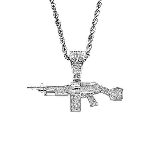 Hip Hop Micro Pave Cubic Rhinestones Bling Iced Out AK 47 Cs Go Gun Colgantes Collar para hombres Hiphop Jewelry Raper Gold Color-silver_60cm