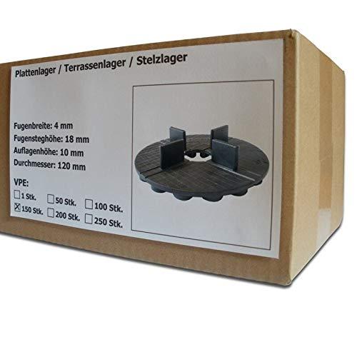 150 Stück SANPRO Gummi Plattenlager/Terrassenlager mit Fugenkreuz 4/18 mm