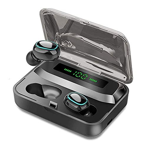 WWJ TWS Bluetooth 5.0 Fones de ouvido sem fio, Smart Touch, 9D estéreo, à Prova d'água, com microfone Preto
