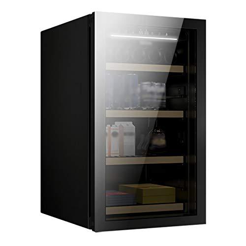 LLZH Vinoteca, Refrigerador del Vino del Compresor, Nevera Vino Profesional, Control Digital, Capacidad para 49 Botellas, 3 Estantes de Madera de Haya, para Oficina