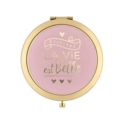 DLP - Miroir de Poche Laurence La Vie est Belle - Couleur Rose - diamètre 7 cm