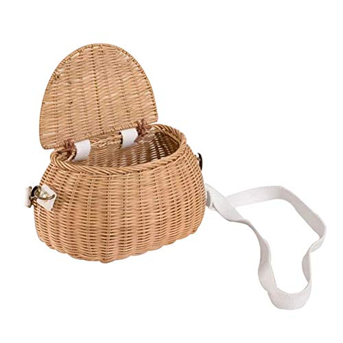 2 in 1 Children's Backpackand Rattan Bicycle Basket, Handmade Wicker Bike Basket, with Lid and Adjustable Shoulder Strap, Girls Backpack Bicycle Basket