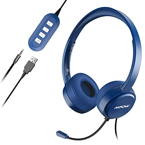 Mpow PC Headset Klinke Headset mit Mikrofon USB Headset/3.5mm Chat Headset Stereo Sound Computer Headset Telefon Headset für Skype Teamspeak Mac PC Smartphone Tablet.