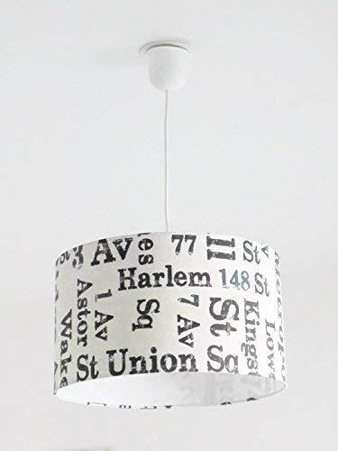 Lustre suspension plafonnier abat-jour loft - industriel - Harlem - new york - usa Luminaire diamètre personnalisé cylindre rond idée cadeau anniversaire décoration tendance
