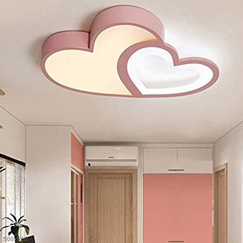 Plafón LED Lámpara Luz Regulable Vivero Con Lámpara De Techo Control Remoto Creativo Moderno Romántico Forma Diseño Rosado Del Corazón Lámpara De Acrílico Decoración Luces Habitación Muchacha Muchacho