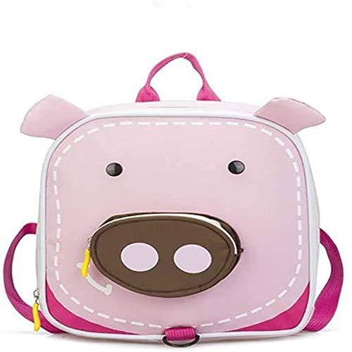 Mochila para niños pequeños Bolso de Hombro de jardín de Infantes Preescolar Anti-perdido (Cerdo)