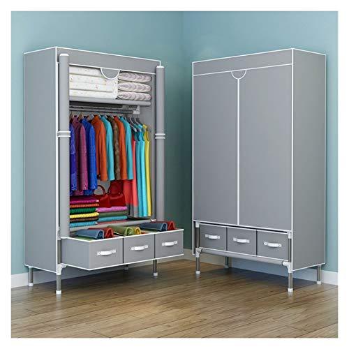 SCYMYBH Wardrobe Portable Closet Organizer Locker 3 Drawers Storage Box Two-Way Zipper Door (Color : C, Size : 90×45×170CM)