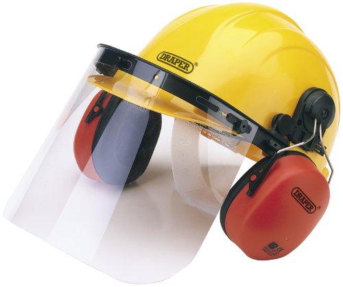Casque de sécurité avec cache-oreilles et visière entièrement réglable – Harnais de tête avec coque en polyéthylène haute densité. Visière en polycarbonate transparent, également disponible séparément. Livré avec fixation et réglage Instructions. Emballage carton.