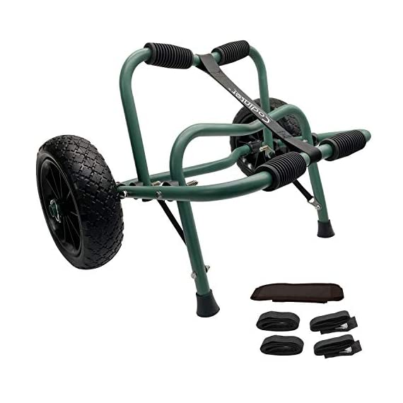 """Codinter Kayak Cart, Canoe Dolly Trolley for Carrying Kayaks Boats Paddleboard Transport – Green 1 📌【Carrier Type】This kayak cart is able to universal carrying kayaks, canoes, paddleboards which width less than 80cm (31"""") are the best fit, but NOT for transporting inflatable boats 📌【Stable Structure】 Four quality powder-coated aluminum tubes compose the kayak trolley with the stainless steel hardware that's meant to stand the test of time. Powerful & durable frame reliably capacity 165 lbs., rubber padding on the frame for hull protection 📌【Foldable and Portable】Foldable trailer is easy to be carried by hand or your shoulder, also can be stored in the trunk of a car for convenient portability"""