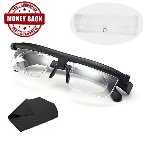 Instant 20/20 Adjustable Glasses with Transparent Glasses Box - High Quality Unisex Adjustable Eyewear Instant 20/20 Vision 4 Once Non Prescription Lenses Reading Driving Eyeglasses