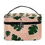 Bolsa de maquillaje de viaje con patrón de hojas prehistóricas, bolsa de maquillaje grande, organizador de maquillaje, bolsas de aseo con cremallera para mujeres y niñas